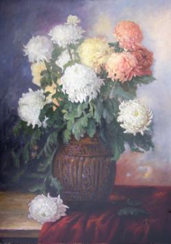 Picturi cu flori crizanteme in vas de br
