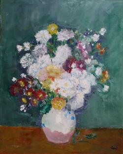 Picturi cu flori Crizanteme in vas de lu