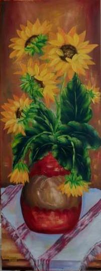 Picturi cu flori Floarea-Soarelui in vaz