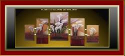 Picturi cu flori Flori cu sclipiri de br