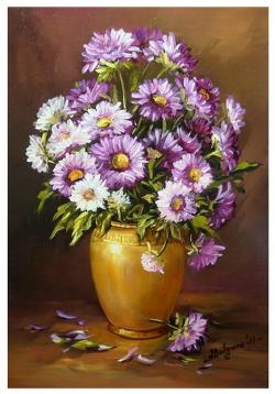Picturi cu flori FLORI DE TOAMNA IN VIOL