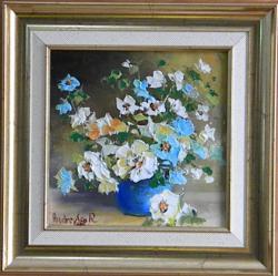 Picturi cu flori FLORI IN GHIVECI ALBAST
