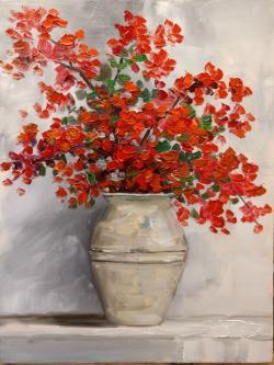 Picturi cu flori Flori rosii in vaza 201