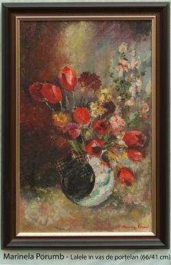 Picturi cu flori Lalele in vas de portel
