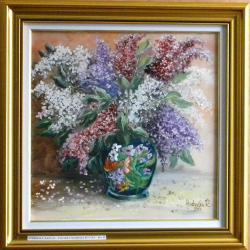 Picturi cu flori Liliac in vaza inflorat