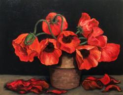 Picturi cu flori maci in ghiveci E.S. 20