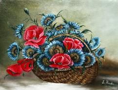 Picturi cu flori Maci si albastrele in c