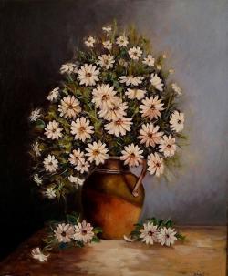 Picturi cu flori Margarete in ulcica de