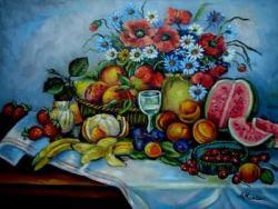 Picturi cu flori Natura statica cu fruct