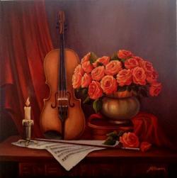 Picturi cu flori Natura statica cu vioar