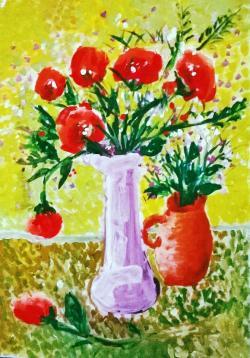Picturi cu flori natura statica-VAZA CU