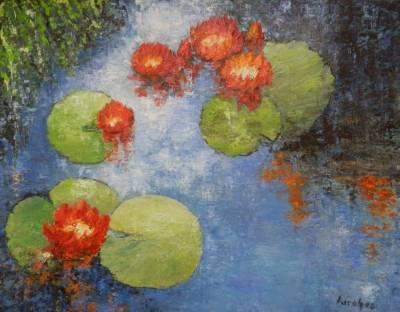 Picturi cu flori Nuferi rosii