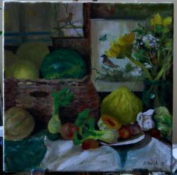 Picturi cu flori Pepeni si floarea soare