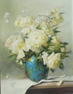 Picturi cu flori Trandafiri albi in vas