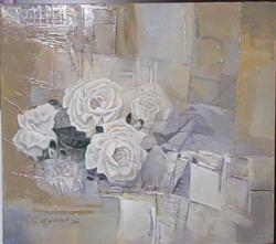 Picturi cu flori trandafiri in decor abs