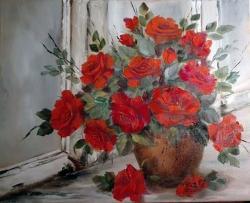 Picturi cu flori Trandafiri in fereastra
