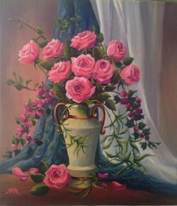 Picturi cu flori Trandafiri in glastra 0