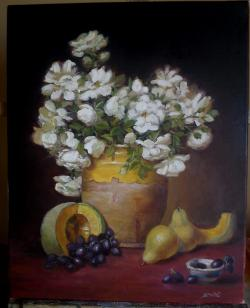 Picturi cu flori Trandafiri in vas de lu