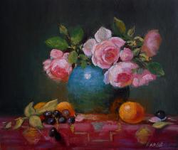 Picturi cu flori Trandafiri in vas turco