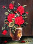 Picturi cu flori Trandafiri in vaza ofer