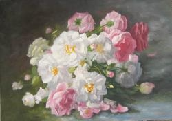 Picturi cu flori trandafiri  pe fond inc