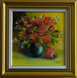 Picturi cu flori TRANDAFIRI ROSII IN VAZ