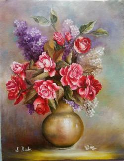 Picturi cu flori Trandafiri rosii si lil