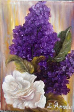 Picturi cu flori UN TRANDAFIR ALB SI LIL