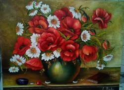 Picturi cu flori VAS CU MARGARETE SI MAC