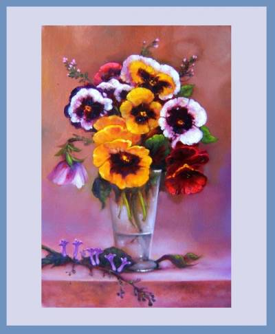 Picturi cu flori Vas de sticla cu pansel
