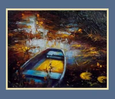 Picturi cu peisaje barca albastra