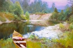 Picturi cu peisaje Barca pe valea Muresu
