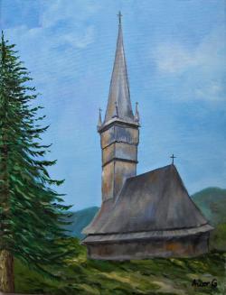 Picturi cu peisaje Biserica din lemn Å