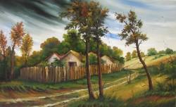Picturi cu peisaje Case la marginea satu