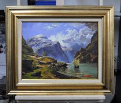 Picturi cu peisaje Corabie cu munti in d