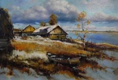 Picturi cu peisaje iarna in delta .
