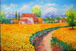 Picturi cu peisaje Lan de floarea soarel