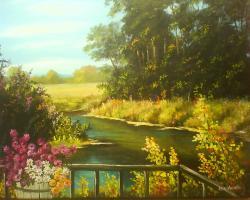 Picturi cu peisaje Peisaj de toamna iazu