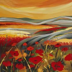 Picturi cu peisaje Ploaie de rosu in cam