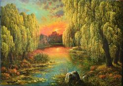 Picturi cu peisaje salcii plangatoare in