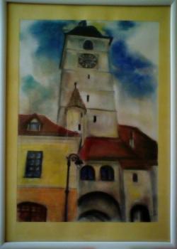 Picturi cu peisaje Turnul Sfatului (cu r