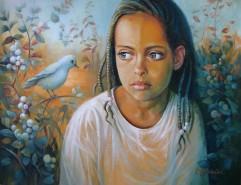 Picturi cu potrete/nuduri Copil si pasar