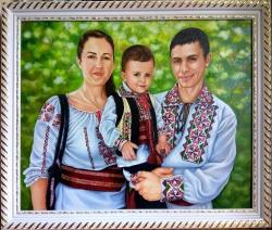 Picturi cu potrete/nuduri Familie în co