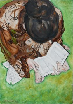 Picturi cu potrete/nuduri Fata citind o
