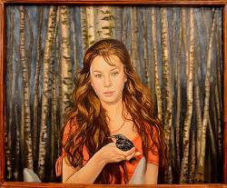 Picturi cu potrete/nuduri Fata intre mes