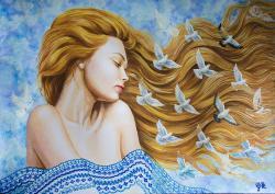 Picturi cu potrete/nuduri Pe aripile vî