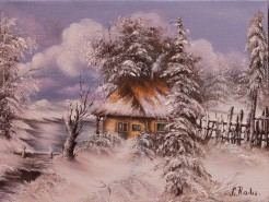 Picturi de iarna Casa de langa lacul ing