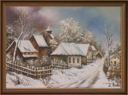 Picturi de iarna Iarna pe ulita (cu rama
