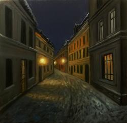 Picturi de iarna noaptea pe straduta 201