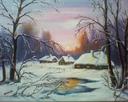 Picturi de iarna peisaj rustic 3 .vis de